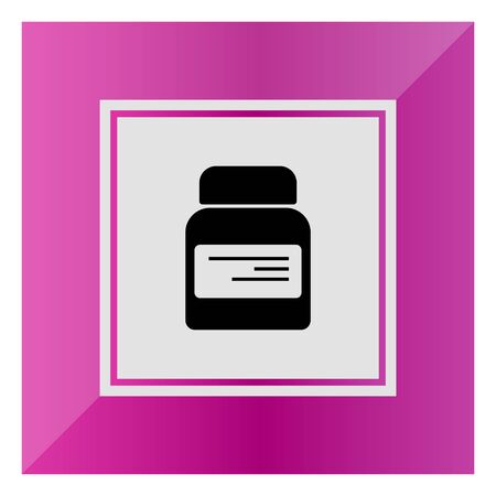 supplement: Icon of dietary supplement bottle with label