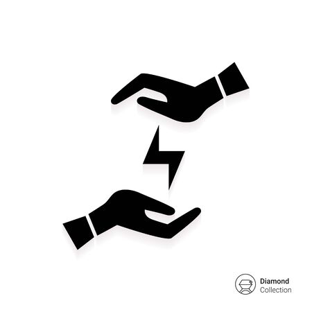 influential: Icon of mans hands holding lightning