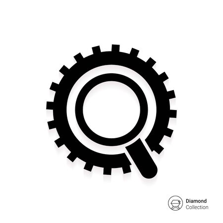 gear wheel: Icon of magnifier and gear wheel Illustration