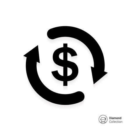 Icoon van de dollar teken in de cirkel van pijlen Stock Illustratie