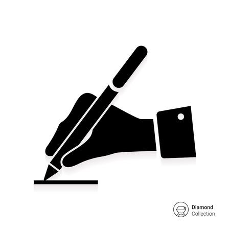 firmando: Icono de la mano del hombre que escribe con la pluma Vectores