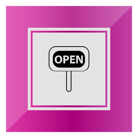 selling service: Icon of open sign Stock Photo