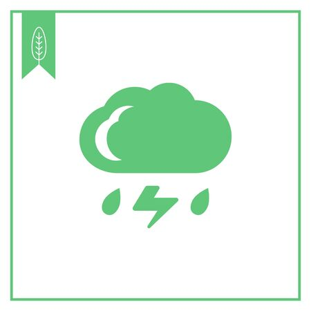 downfall: Icon of cloud with falling raindrops and lightning