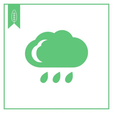 precipitation: Icon of cloud and few falling raindrops Illustration