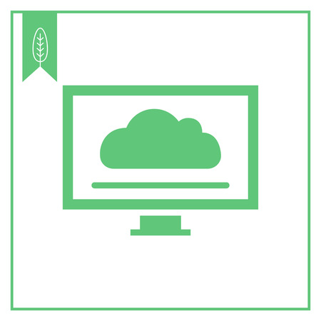 Icon of computer monitor with cloud screensaver