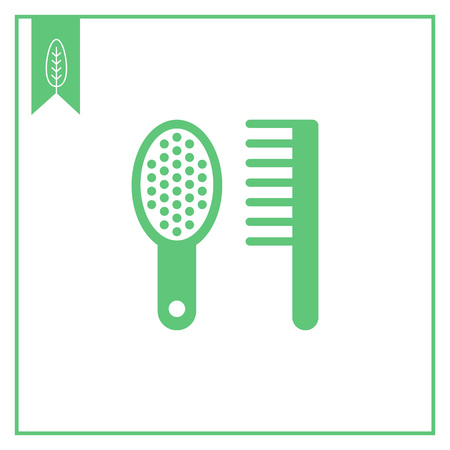 hairbrush: Icon of hairbrush and comb Illustration