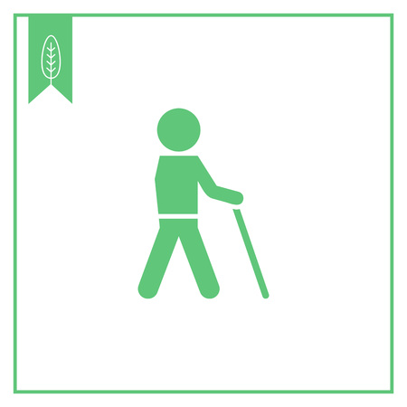 senile: Icon of man silhouette walking with stick