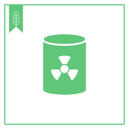radioactive tank and warning sign: Icon of barrel with radiation sign