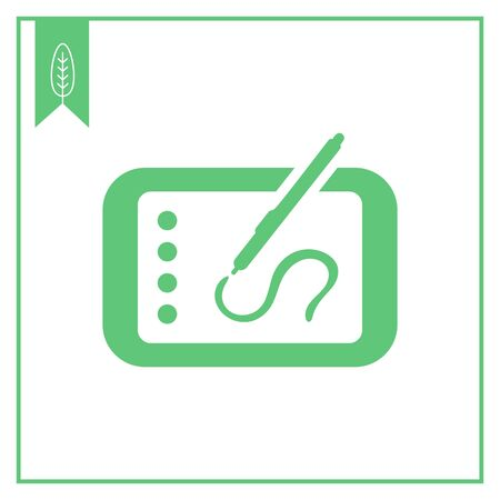 writing on screen: Icon of tablet computer with stylus drawing on screen