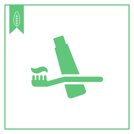 Icon of toothbrush and toothpaste Illustration