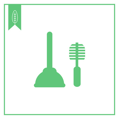 bristles: Icon of plunger and toilet brush