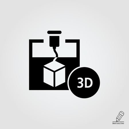 creating: Icon of 3d printer creating cube, 3D inscription in circle
