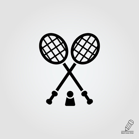 shuttlecock: Icon of crossed badminton rackets and shuttlecock