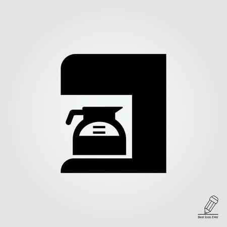 coffee maker: Icono de la cafetera con jarra llena de caf�
