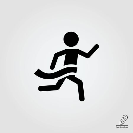 finish line: Icon of running man silhouette crossing finish line