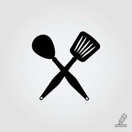 stirring: Icon of crossed spoon and turner Illustration
