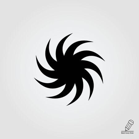 precipitation: Icon of sun with swirl beams
