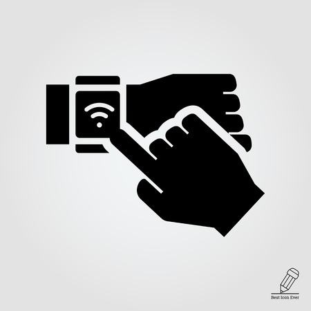 touching: Icon of human hand touching smartwatch display