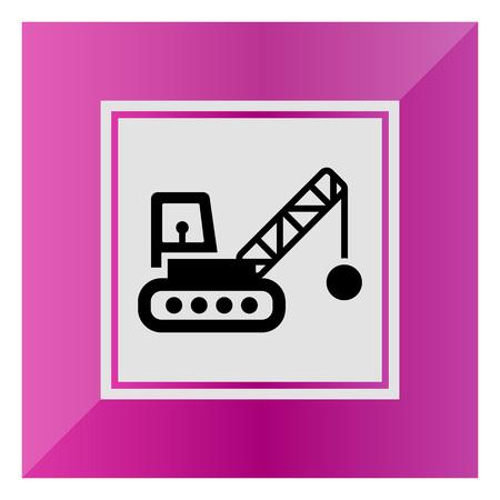 web crawler: Icon of crane with wrecking ball