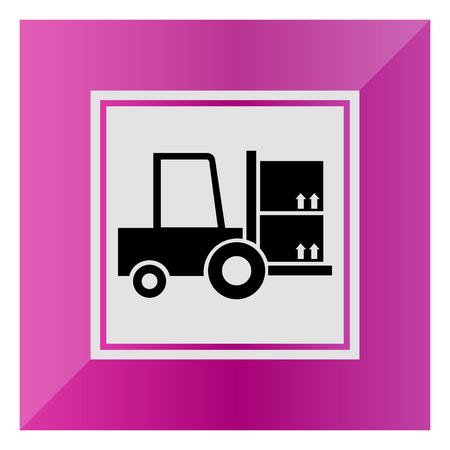 fork lift: Icono de la carga carretilla elevadora tenedor Vectores