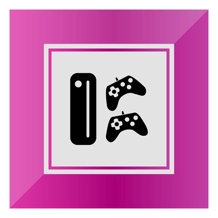 quest: Icon of game console with two joysticks Illustration