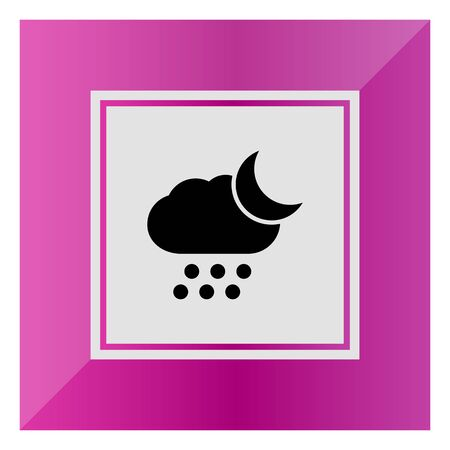 humidity: Icon of cloud with falling hailstones and crescent moon