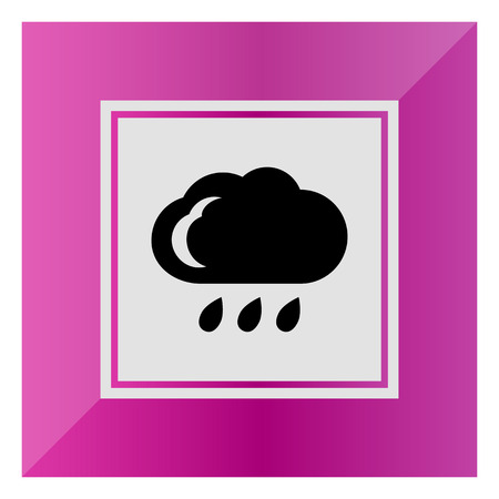 downfall: Icon of cloud and few falling raindrops Illustration