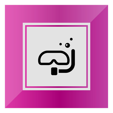 air bubbles: Icon of scuba diving mask with tube and air bubbles Illustration