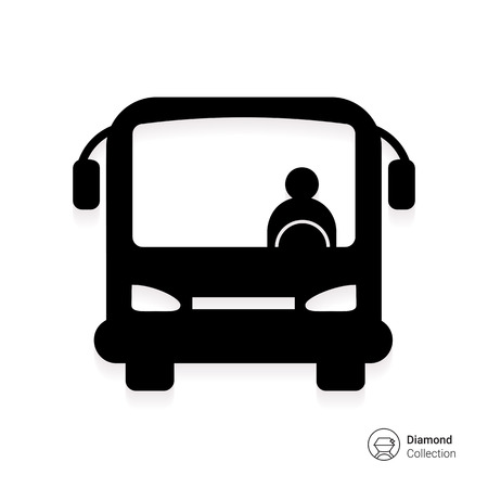 Icon of bus with bus driver, front view Vettoriali