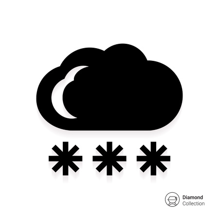 downfall: Icon of cloud and falling snowflakes