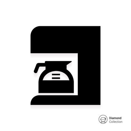 coffee maker: Icon of coffee maker with jar filled with coffee Illustration