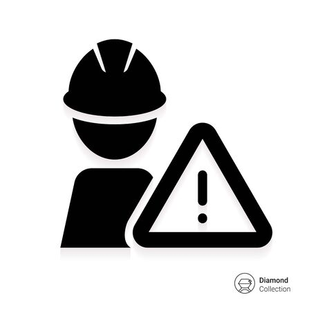 bauarbeiterhelm: Icon of man silhouette wearing hardhat and warning sign Illustration