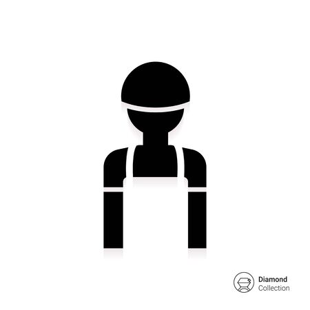 overalls: Icon of mans silhouette wearing overalls and hardhat