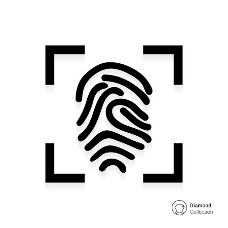 Icon of finger print in frame Illustration
