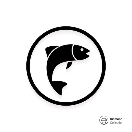 Icon of fish silhouette in circle Stock Vector - 45806597