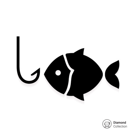 gills: Icon of fish silhouette and fish hook