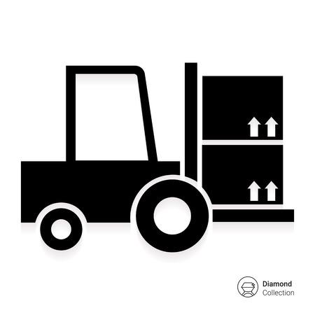 montacargas: Icono de la carga carretilla elevadora tenedor Vectores