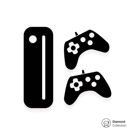 Icon of game console with two joysticks Illustration