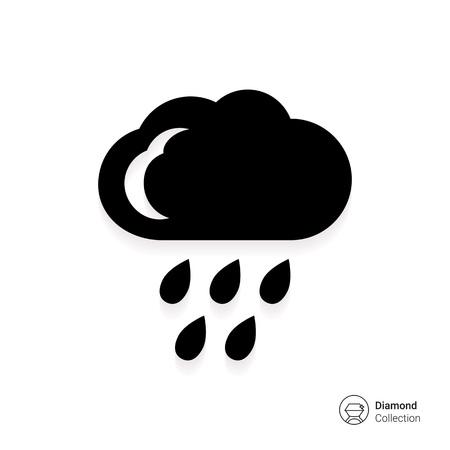 precipitation: Icon of cloud and falling raindrops