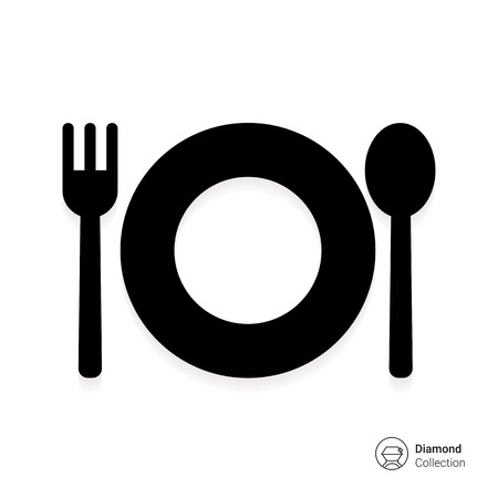 plate: Icon of plate with fork and spoon Illustration