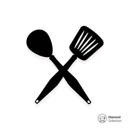 roasting: Icon of crossed spoon and turner Illustration