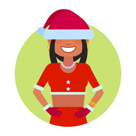 santa costume: Female character, portrait of Indian teenage girl in Santa costume with hat on her eyes