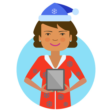 woman tablet: Female character, portrait of woman in red Santa costume, holding tablet computer Illustration