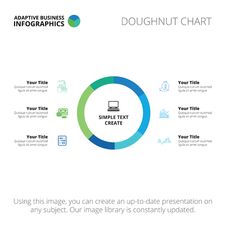 light blue: Editable infographic template of doughnut chart, blue and light blue version Illustration