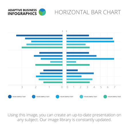 light blue: Editable infographic template of horizontal bar chart, blue and light blue version