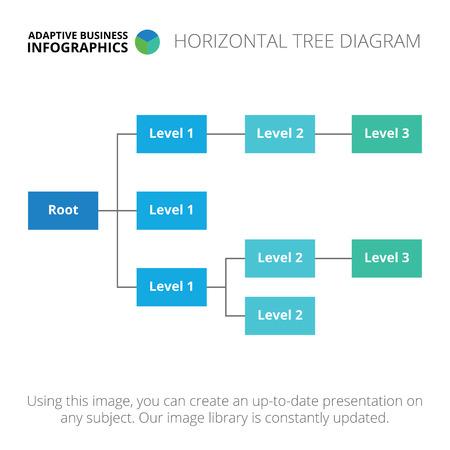 diagrama de arbol: Plantilla infografía editable de diagrama de árbol horizontal, azul y la versión de color azul claro Vectores