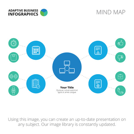 mind map: Editable infographic template of mind map, blue and light blue version