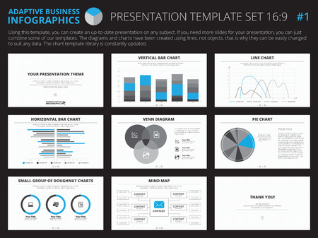 graphic presentation: Set of editable infographic presentation templates with graphs and charts on white background