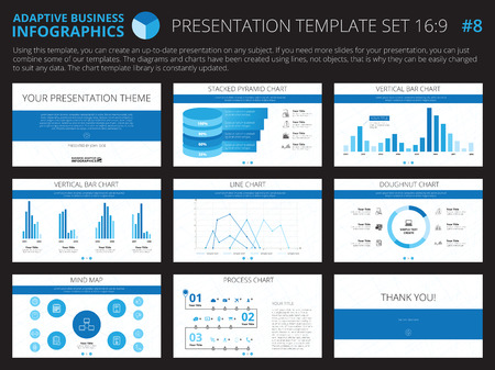 line chart: Set of editable infographic presentation templates with graphs and charts on white background