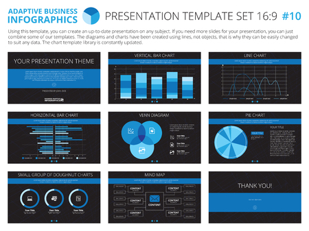 a concept: Set of editable infographic presentation templates with graphs and charts on black background